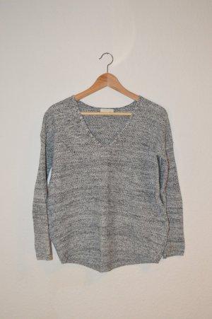 weiß-schwarz melierter Pullover