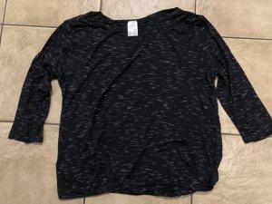weiß schwarz meliertes Shirt / Dreiviertelarmshirt von Lascana - Gr. 44/46