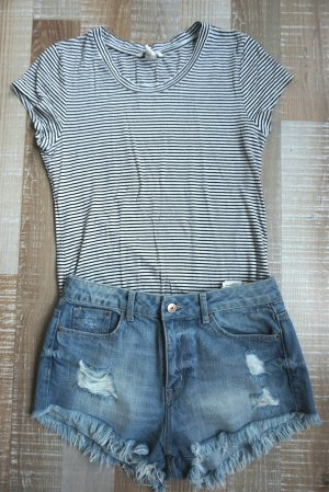 Weiß-schwarz Streifenmuster Tshirt H&M