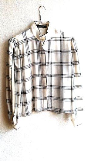 Weiß-Schwarze Bluse mit Stehkragen True Vintage von Louis Feraud