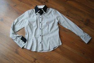 weiß/schwarze gestreifte Bluse aus Italien