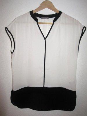 weiß/ schwarze schicke lockere Bluse