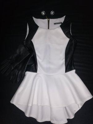 weiß/schwarze Vokuhila-Bluse