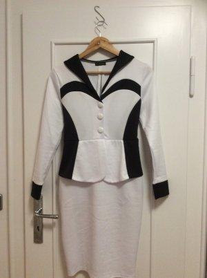 Weiss-schwarzes Kleid mit Schößchen, Gr. 38
