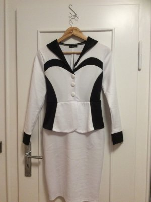 Robe péplum blanc-noir coton