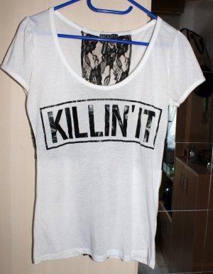 Weiß-Schwarzes T-Shirt Gr. M von Alcott