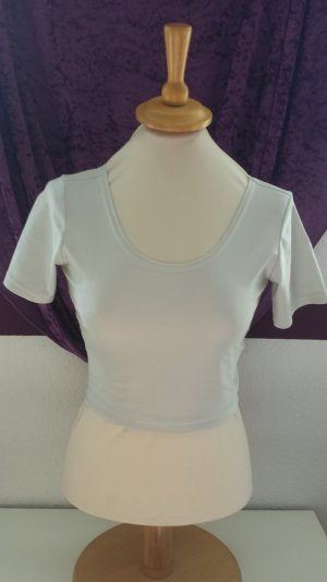 weiß silber Cropped Top Shirt, Gr. 36/38
