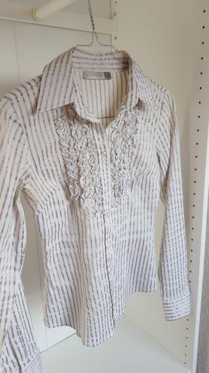Weiß/silber gestreifte Bluse - mit Rüschen