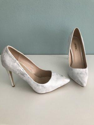 Weiß-Silber spitze High Heels 39
