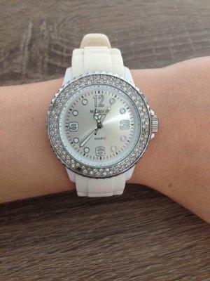 Weiß / Silberne Uhr von Madison New York mit Strasssteinen