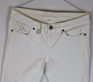 Weiß Stretch Jeans Hose Fishbone Größe 38 W30 L32 Stickerei Denim Straight Slim Cremeweiß