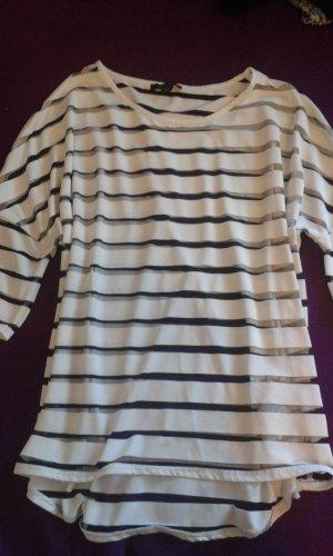 weiß-transparent gestreiftes T-shirt