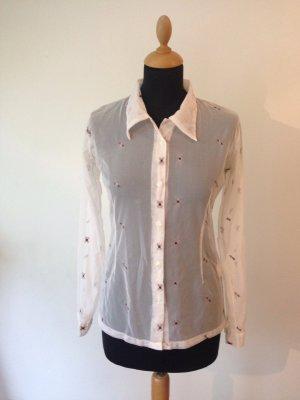 Weiß transparent weinrot grau stickerei Muster Nylon Stretch figurbetont bequem Bluse