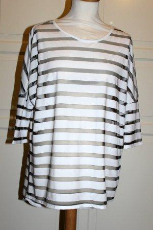 weiß-transparentes Shirt gestreift