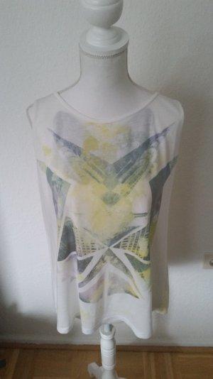 Weiß und gelbes Top von Zara Trafaluc mit Print vorne & schönem Rückenausschnitt