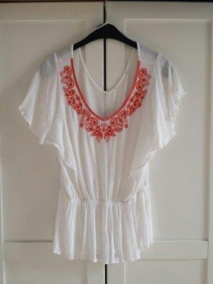 Weiss weiß orange Sommertop Sommer Tunika Shirt Boho Festival Größe S M
