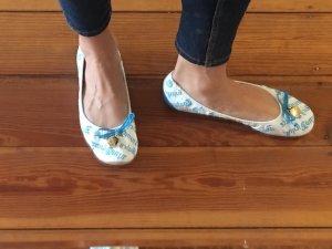 Weißblaue Faltbare Ballerinas