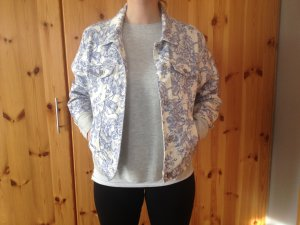 Weißblaue vintage Blumen Jeansjacke von Eddie Bauer