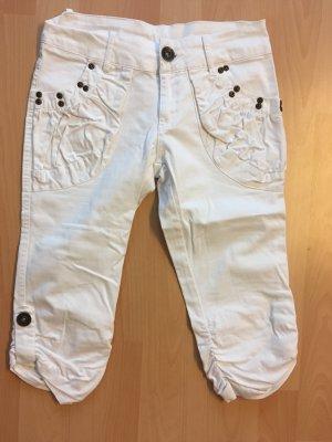 Pantalone a 3/4 bianco Tessuto misto