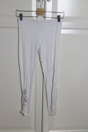 Weiße 3/4 Leggings mit Raffung