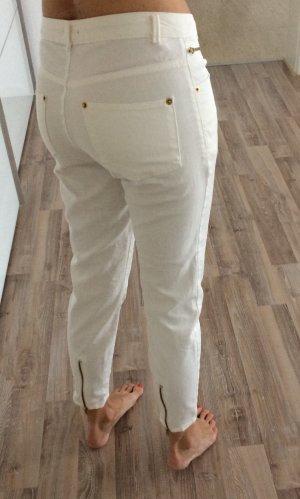 Weiße 7/8 Jeans mit Reißverschlüssen