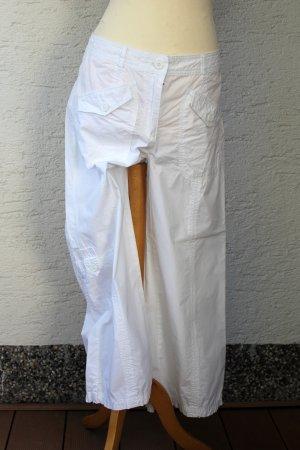 weiße 7/8 Stoffhose mit Taschen