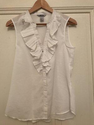 Weiße ärmellose Bluse mit Rüschen
