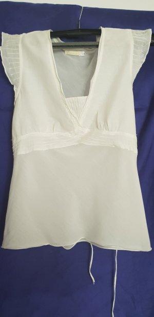 Weiße ärmellose Bluse von Escandella, Seidentop