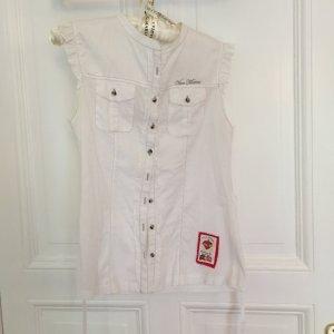 Weiße ärmellose Bluse von Vive Maria mit Print auf dem Rücken Größe L