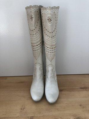 Apart Bottes à talon blanc-bronze cuir