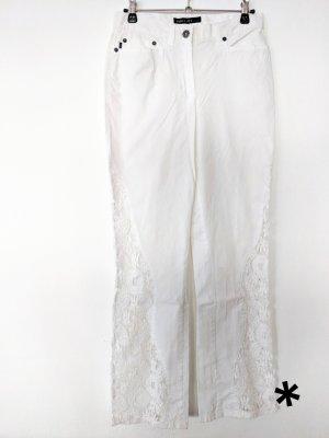 Weiße, ausgefallene Jeans mit Spitzen