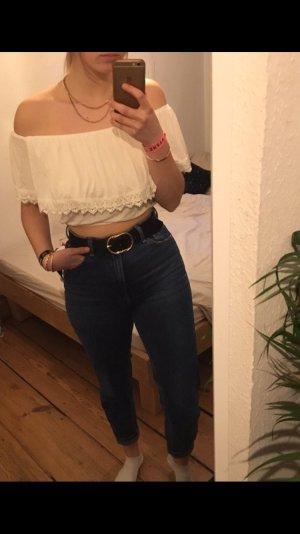Weiße bauchfreie Bluse