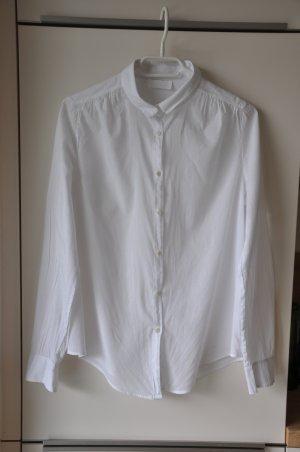 Weiße Baumwollbluse mit kurzem Kragen // Bluse // Baumwolle
