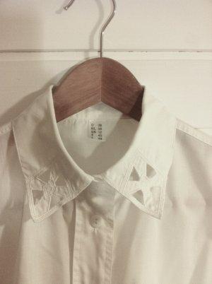 weiße Baumwollbluse mit Spitzenkragen Gr. 38