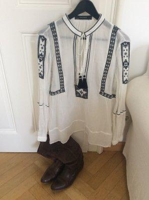 Zara Tunique-blouse blanc-noir coton