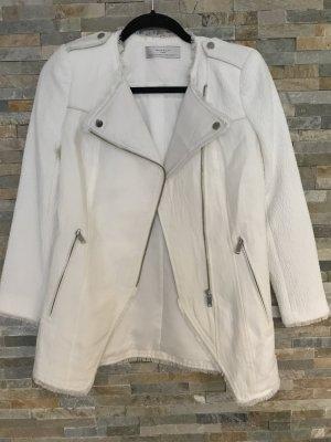 Zara Veste motard blanc-blanc cassé