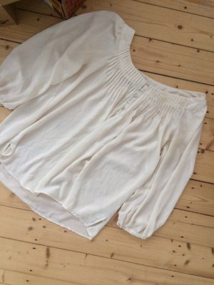 H&M Blusa ancha blanco puro