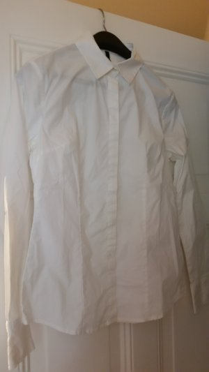United Colors of Benetton Stand-Up Collar Blouse white cotton