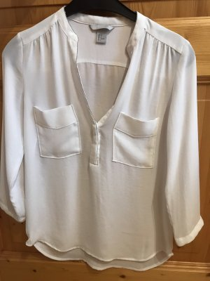 H&M Long Sleeve Blouse white-silver-colored