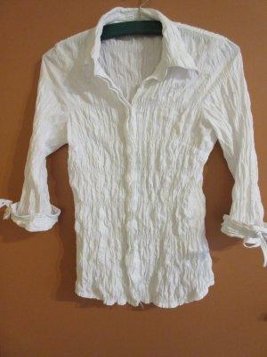 Weiße Bluse Crinkle-Optik