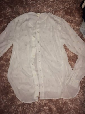 H&M Stand-Up Collar Blouse white-gold-colored
