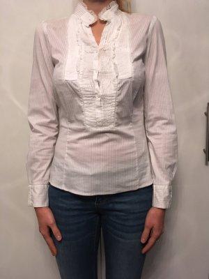 Zara Woman Blouse à volants blanc-gris anthracite coton