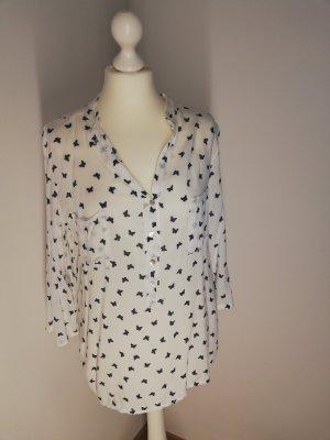 Weiße Bluse, Größe 38 mit Vogelprint