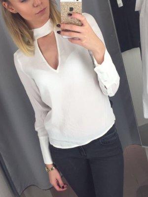 Weiße Bluse High Neck