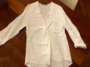 Weiße Bluse in Wickeloptik, ZARA, Größe L
