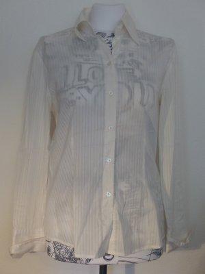 weiße Bluse / Langarmbluse leicht transparent von Esprit