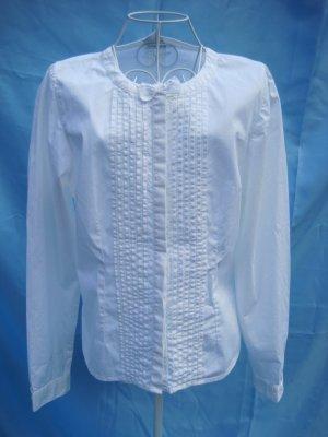 Weiße Bluse mit Biesen und Schleife