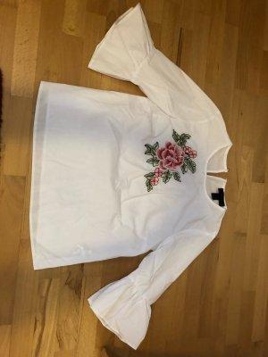 Weiße Bluse mit Blumenmuster