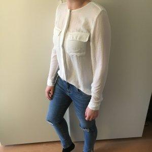 Weiße Bluse mit Brusttaschen
