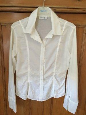 Weiße Bluse mit dezenter Stickerei unten, COMMA, klassisch